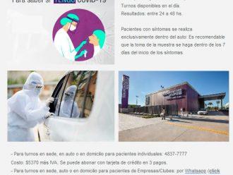 En DIAGNOSTICO MAIPU sede Pilar, área exclusiva para Hisopado COVID19  personalmente o en el auto!!